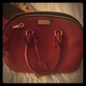 Small Burberry red leather Orchard Bowling bag